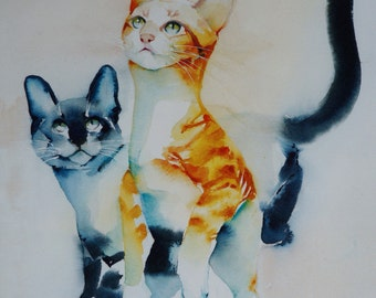 "Postcard. Greeting card. Reproduction watercolor cat ""game"" red tabby cat and Siamese cat blue"