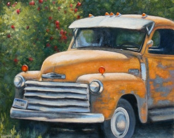 MEMORIES-old rustic Chevy truck framed oil painting on stretched canvas, 24 x 20