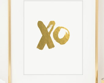 XO Love Print. Real Gold Foil Print or Faux Gold Foil. Wedding Gift. Anniversary Gift. Nursery Art. Typographic Print. Wall Art. Home Decor.