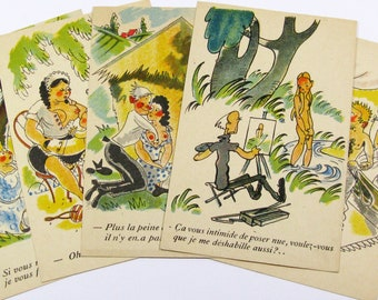Set of 5 Naughty Postcards, Postcards, Saucy French Postcards, French Antique Postcards,Hand Painted Postcards,Original Postcards (549)
