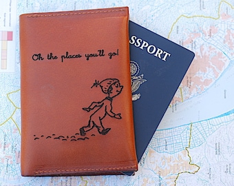 Oh The Places You'll Go, Passport Travel Wallet, Leather, Handmade, High School Graduation Gift, Passport Keeper, 2017, College Graduation