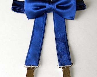 Royal Blue Satin Bowtie and Suspender Set - Infant, Toddler, Boy              2 weeks before shipping