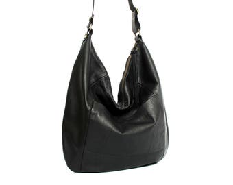 Black leather hobo bag - leather purse - women bags SALE black leather bag - leather shoulder bag - crossbody bag - slouch bag handmade bag