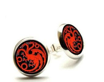 Game of Thrones Earrings- House Targaryen - Fire and Blood - Hypoallergenic Earrings