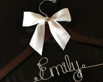 Bridal Hanger with Metal Charm / Wedding Hangers / Custom Bridal Hangers / Personalized Wedding Hangers