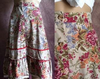 FINAL SALE --- Vintage Boho Ruffle Flower Print Skirt (xs)