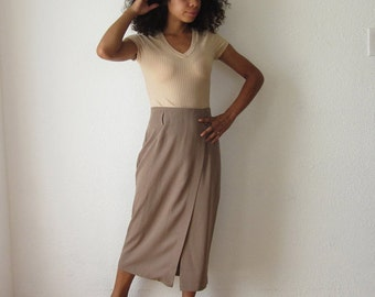 Mid length taupe skirt, high waisted pencil skirt