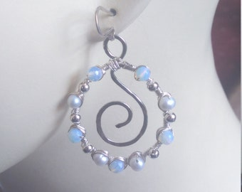 Sterling silver earrings with moonstones and freshwater pearls