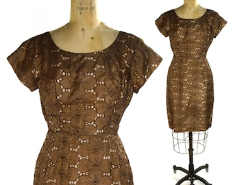 50s Eyelet Cocktail Dress / Vintage 1950s / 1960s Embroidered Organza Evening Dress in Chocolate Brown / Small Medium
