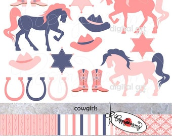 Cowgirls: Digital Clipart Scrapbook Paper Set (300 dpi) Boots Horse Horseshoe Sheriff Badge Cowboy Hat Clip Art Birthday