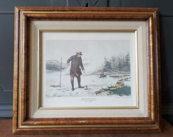 Currier & Ives Framed Print, American Winter Sports, Trout Fishing, Double Mat Wood Frame, Home Wall Decor