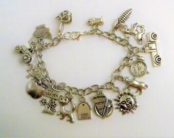 Love the Farm Life Charm Bracelet, Farm Girl, Farm Animals, Country Girl Bracelet, 4H Jewelry Farm Girl Jewelry, Proud, Country Girl, Silver