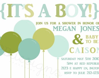 Baby Boy Shower invitation -- Bold Balloons