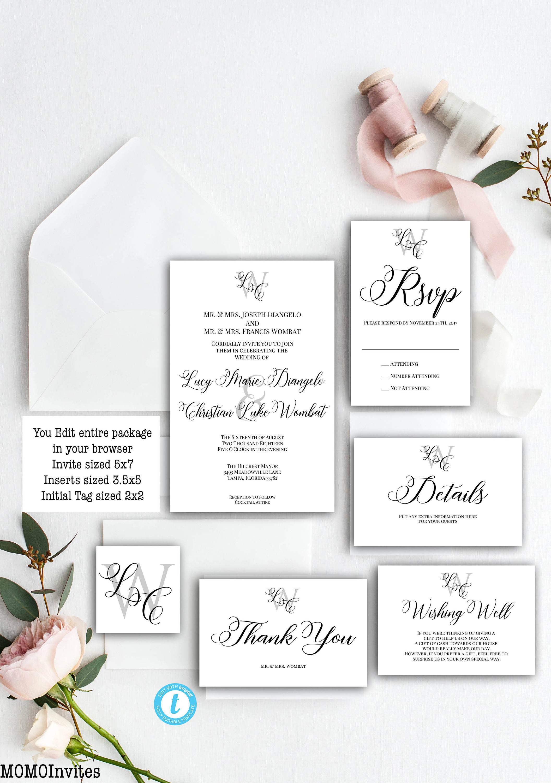 Wedding Invitation Template Suite Monogram Wedding