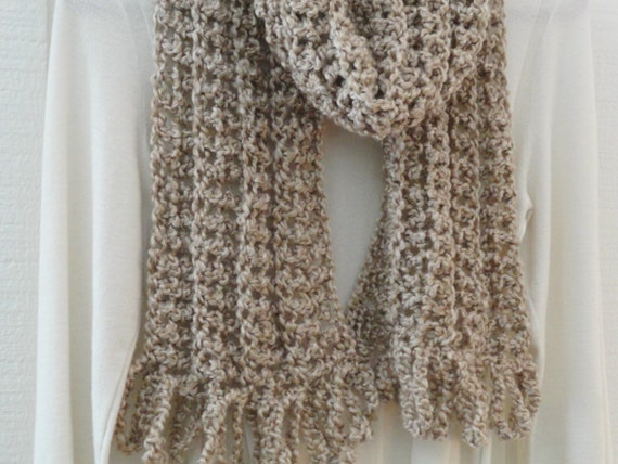 Crochet PATTERN Long Scarf with Loopy Fringe Pattern Only DIY