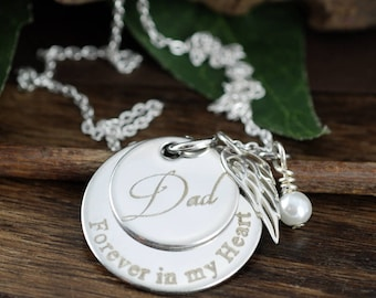 Personalized Memorial Necklace, Forever in my Heart, Remembrance Necklace, Loss Jewelry, Engraved Jewelry, Memorial Jewelry, Gift for Widow