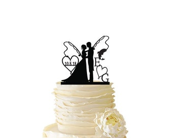 Mr. Mrs. with Bride and Groom - Fishing Poles With Date and Initials  - Standard Acrylic - Wedding - Anniversary - Fishing Cake Topper - 108