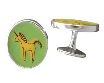 Unicorn Cufflinks - Enamel and Sterling Silver Unicorn Cufflinks
