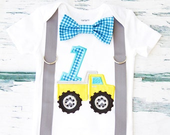 Dump truck baby boy first birthday bow tie suspender set cake smash outfit, dumptruck 1st birthday one year Boy first birthday, Boy 1 year