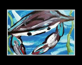 "POSTCARD Blue Crab Seaweed Ocean Sea Life Food Coastal Abstract Art Print By Scott D Van Osdol 4"" x 6"" Of My Original Artwork Ready To Frame"