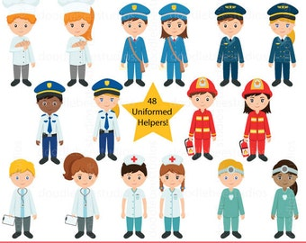 Community Helpers Clipart, Community Clipart,Career Day Clipart,Career Clip Art, Occupation Clipart, Jobs Clipart, Uniformed Helpers Clipart