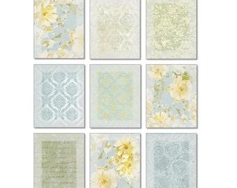 Light Blue and Yellow Wall Art Set of 9 Prints • Gallery Wall Art Arrangement
