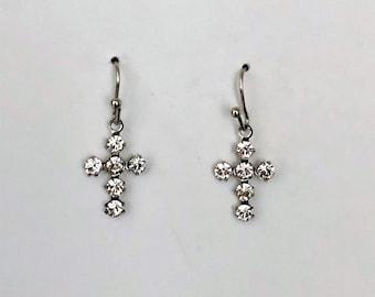 Crystal Cross Earrings/ Cross Earrings