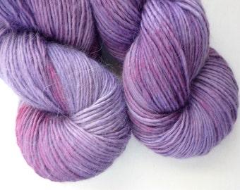 Hand Dyed Alpaca / Wool / Silk Yarn - Single-Ply DK Weight  Yarn in Amazon Orchid Colorway