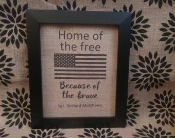 Military Personalized Burlap Print