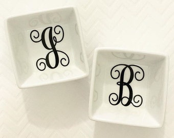 Ring Dish- Ring Holder- Jewelry Dish- Initial