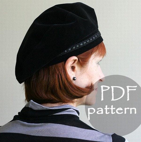 Women Classic Hat Beret PDF Sewing Pattern/ S M L sizes/