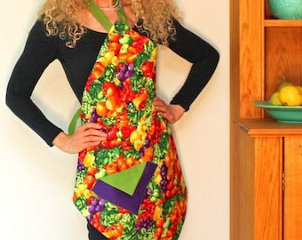 Womens Vintage Apron, Fruit and Veggies Apron