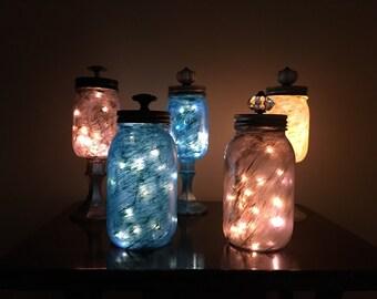Painted Mason jar with lights