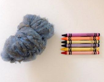 TEXTURED WOOL BATTING - Indigo Smoke Blue Gray 1 ounce / wool fiber for needle felting , spinning , wet felting, nuno felting, sculpture