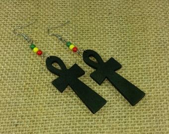 Ankh Earrings - Black Ankh Earrings -  Egyptian Cross Earrings - Black Cross Earrings - Rasta Earrings - Rasta Ankh Black Wooden Earrings