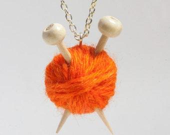 Miniature Knitting Needles & Ball of Wool Necklace - Orange Yarn