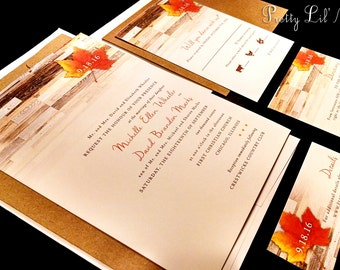Rustic Country Fall Leaf Custom Wedding Invitation Barn Wood Shabby Maple Oak Leaves Outdoor Date Monogram Orange Red Brown Gold Yellow Set