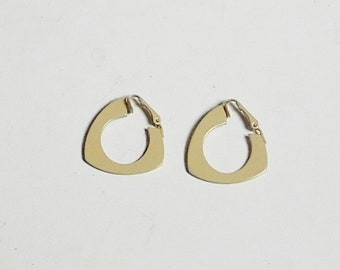 Retro Mod Clip On Beige Abstract Earrings Tan Thin Chunky Non Pierced Vintage Jewelry