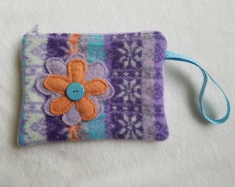 Handmade Upcycled Felted Wool / Zippered Pouch / Wristlet / Cotton Lined / OOAK
