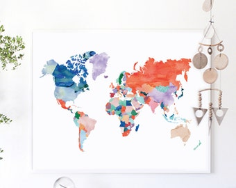 Large world map print watercolor world map poster travel map large world map print watercolor world map poster wedding gift travel map office decor political world map travel wall art wanderlust gumiabroncs Choice Image