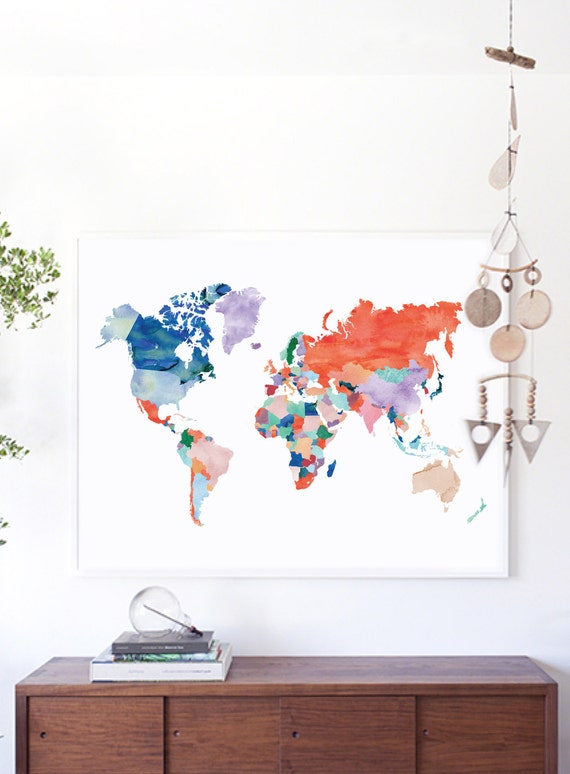 Large world map print watercolor world map poster wedding gumiabroncs Choice Image