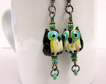 Glass Owl Earrings, Black and Green Lampwork Owl Earrings, Cute Owl Earrings, Black and Sage Owl Jewelry, Big Eyes Owl Earrings