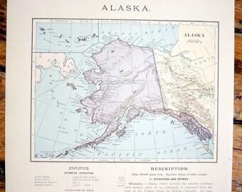 1887 alaska original antique map united states of america