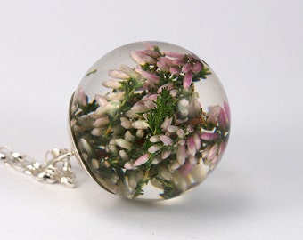 Heather Pendant, Botanical Necklace with Sterling Silver Chain, Romantic Jewelry