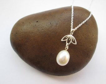 Pearl Drop Necklace - Pearl Pendant, Freshwater Pearl Jewellery, Real Pearl Jewelry, Bridal Jewelry, Wedding Jewellery, Gifts for her