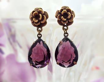 Amethyst Earrings - Swarovski Crystal Earrings - Purple Teardrop Earrings - Amethyst Crystal Earrings - Flower Dangle Earring February E9326