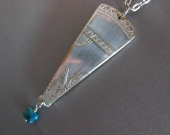 Butterfly and Bird Antique Silver Plate Spoon Necklace with Sesame Jasper