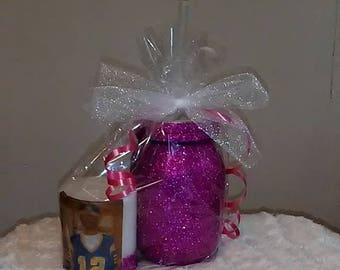 Glam Glass and Personalized Candle
