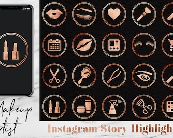 Makeup Artist Icons Set, Copper Instagram Story Highlights Icons, Copper Instagram Content Icons, Copper Instagram Story Template, BUY5FOR8