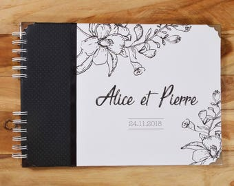 Custom black & white wedding guest book